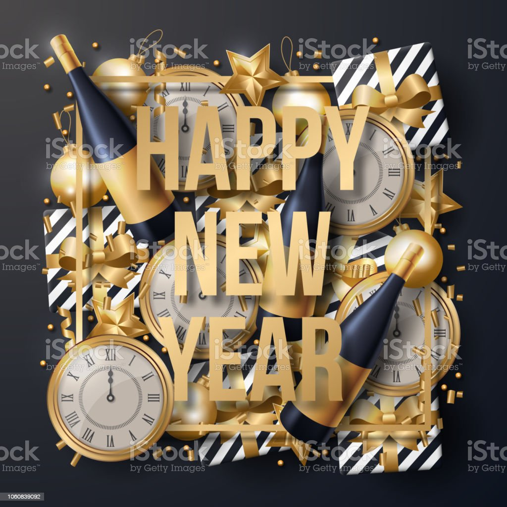 happy new year background vector greeting card design template vector illustration royalty free