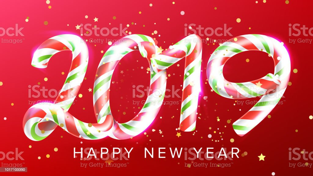 2019 happy new year background vector numbers 2019 christmas realistic sign classic xmas