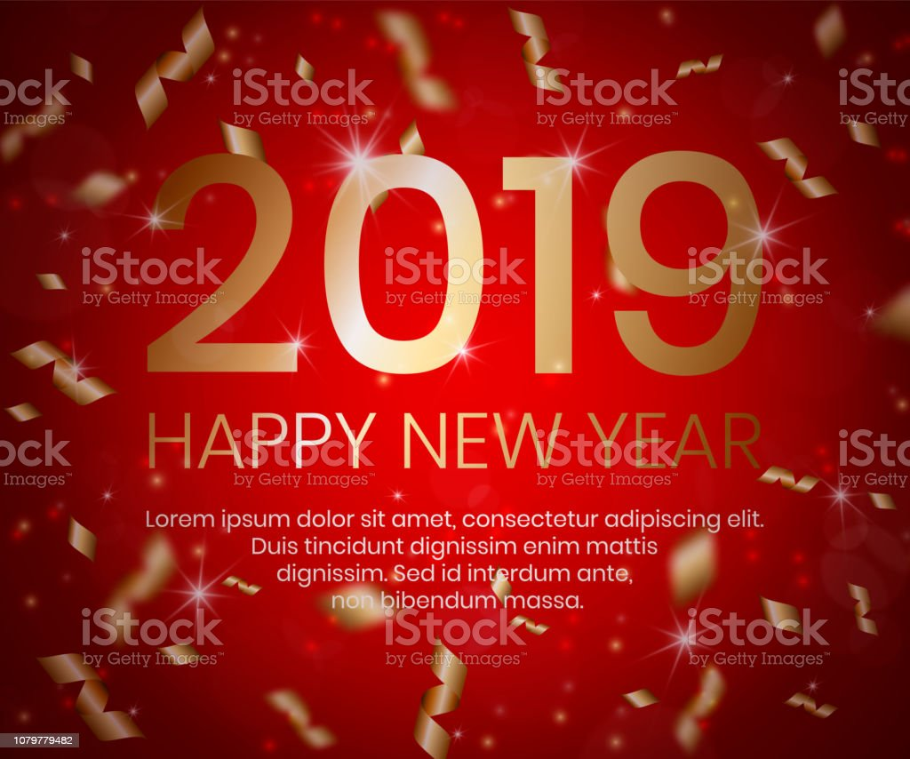 2019 Happy New Year Background With 3d Golden
