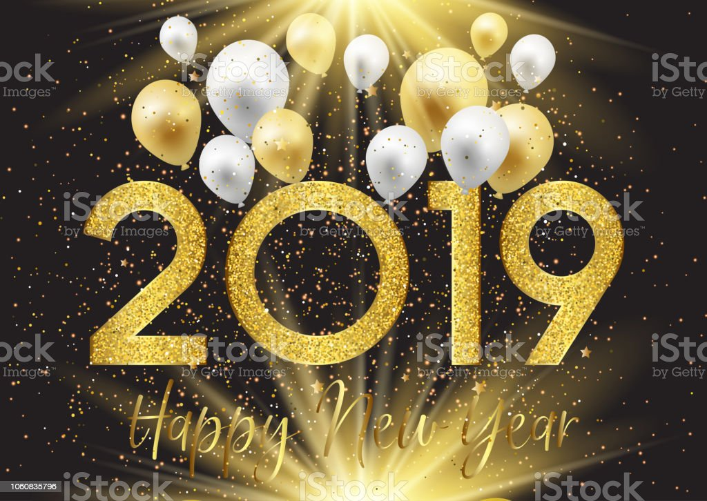 happy new year background with balloons and glitter royalty free happy new year background with