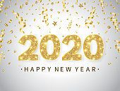 2020 Happy New Year background with bright golden text and numbers. Happy holiday backdrop with gold confetti, glitter, sparkles and stars. Luxury festive design for greeting card. Vector illustration.