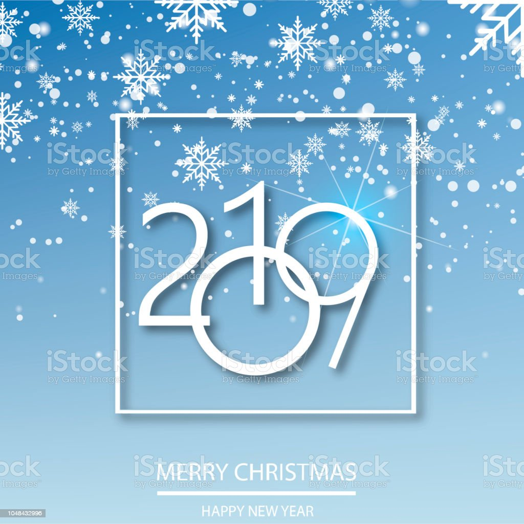 happy new year background with falling snow flakes vector royalty free happy new year