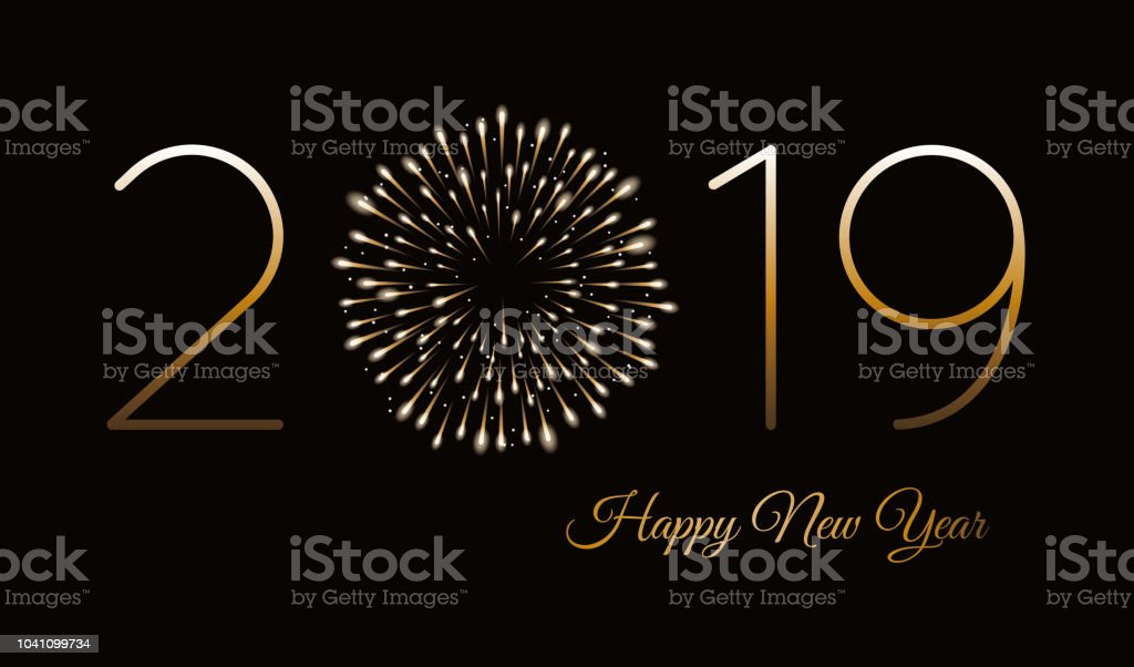 Happy new year background with fireworks. vector art illustration