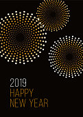 Happy New Year background with fireworks. - Illustration
