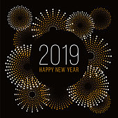 Happy New Year background with fireworks. illustration
