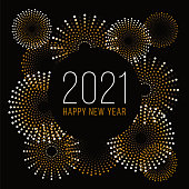 Happy New Year Background with Fireworks. Stock illustration