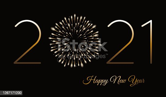 Happy new year background with fireworks. Winter holiday design template. Stock illustration