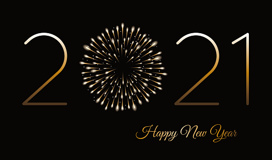 Happy new year background with fireworks. Winter holiday design template.