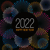 istock Happy New Year Background with Fireworks. Winter holiday design template. 1329882651