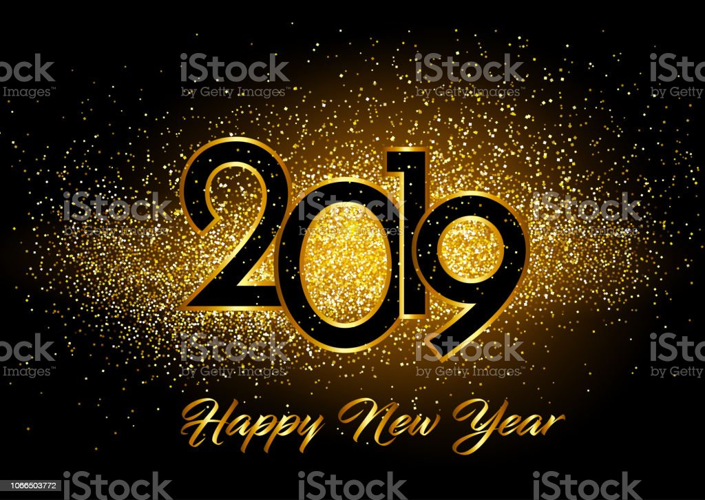 Happy New Year background with glitter effect vector art illustration