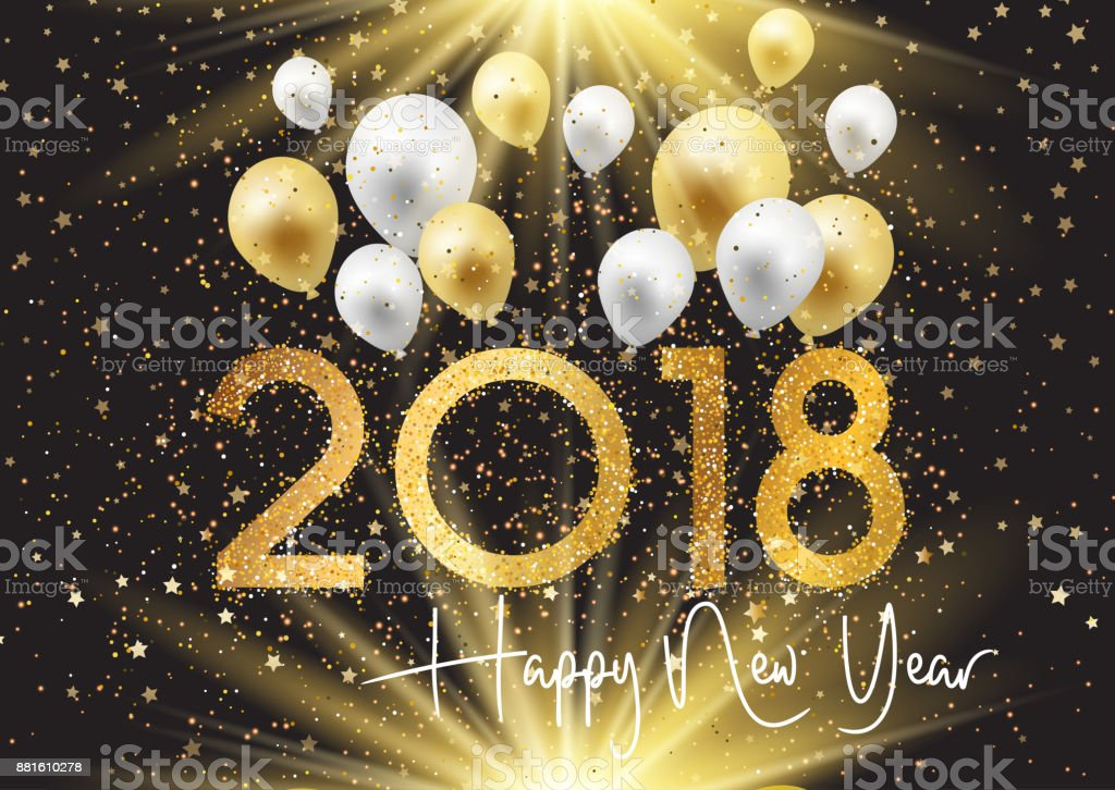 happy new year background with gold and silver balloons royalty free happy new year background