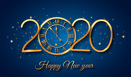 2020 Happy New Year background with gold clock