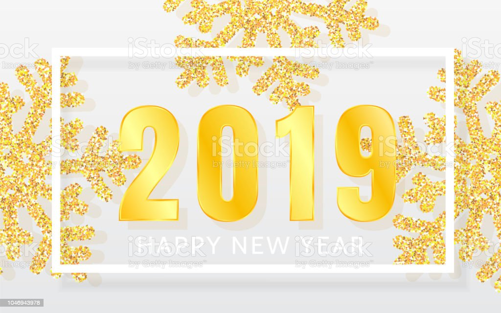 2019 happy new year background with shining yellow snowflakes and white frame merry christmas and