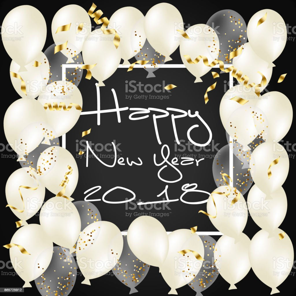 2018happy New Yearballon Schwarzer Hintergrund Rahmen Golden Glitzer ...