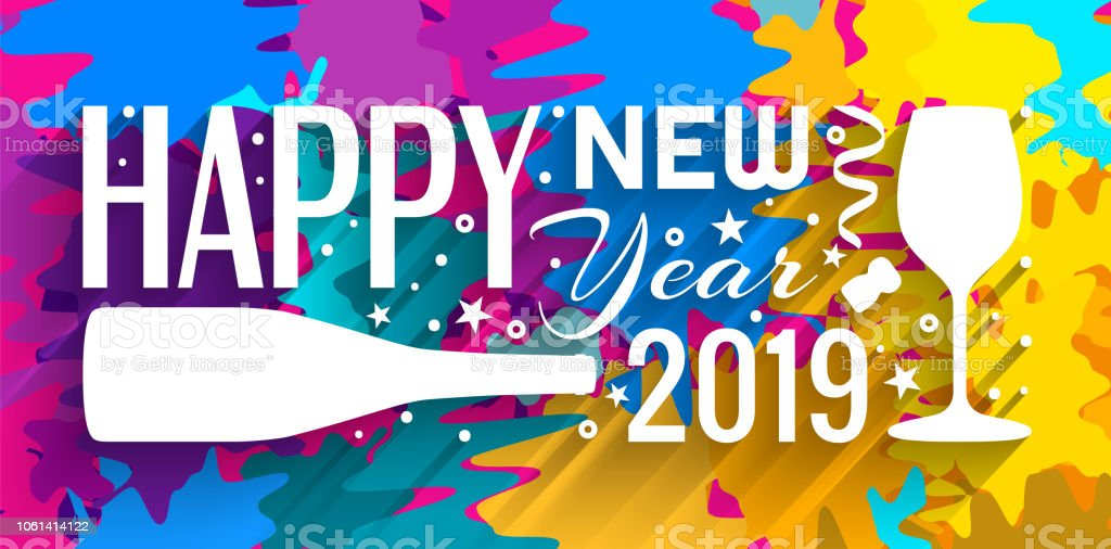 2019 happy new year banner lettering made from bottle of champagne glass stars