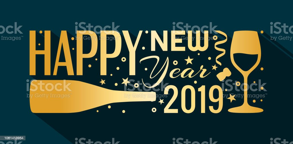 2019 happy new year banner lettering made from golden bottle of champagne glass
