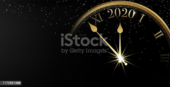 2020 Happy New Year banner on black background and sparkle bokeh with gold clock, Vector illustration