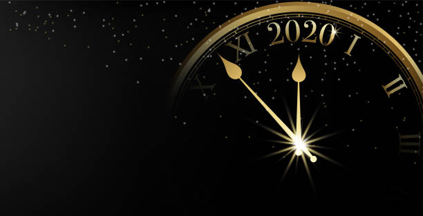 2020 happy new year banner on black background and sparkle bokeh with gold clock, vector illustration - new years stock illustrations