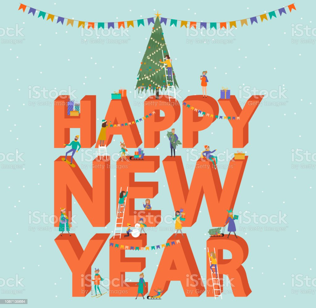 happy new year banner winter scene with a huge text and small people royalty