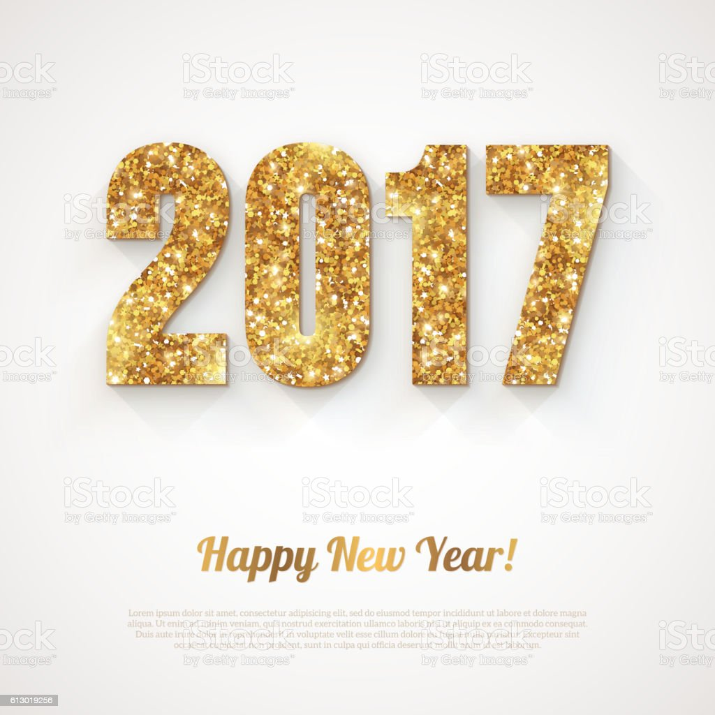 Happy New Year Banner with 2017 Numbers vector art illustration