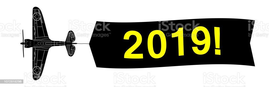 banner de feliz año nuevo con aviones del ejército - ilustración de arte vectorial