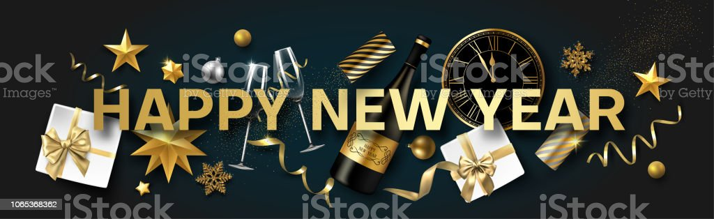 happy new year banner with christmas decorations gifts bottle of champagne and clock