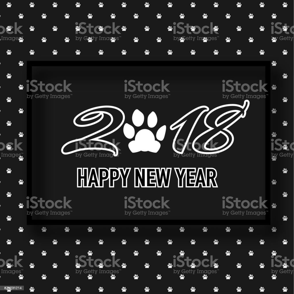 2018 happy new year banner with cute dog paw pattern in black and white design