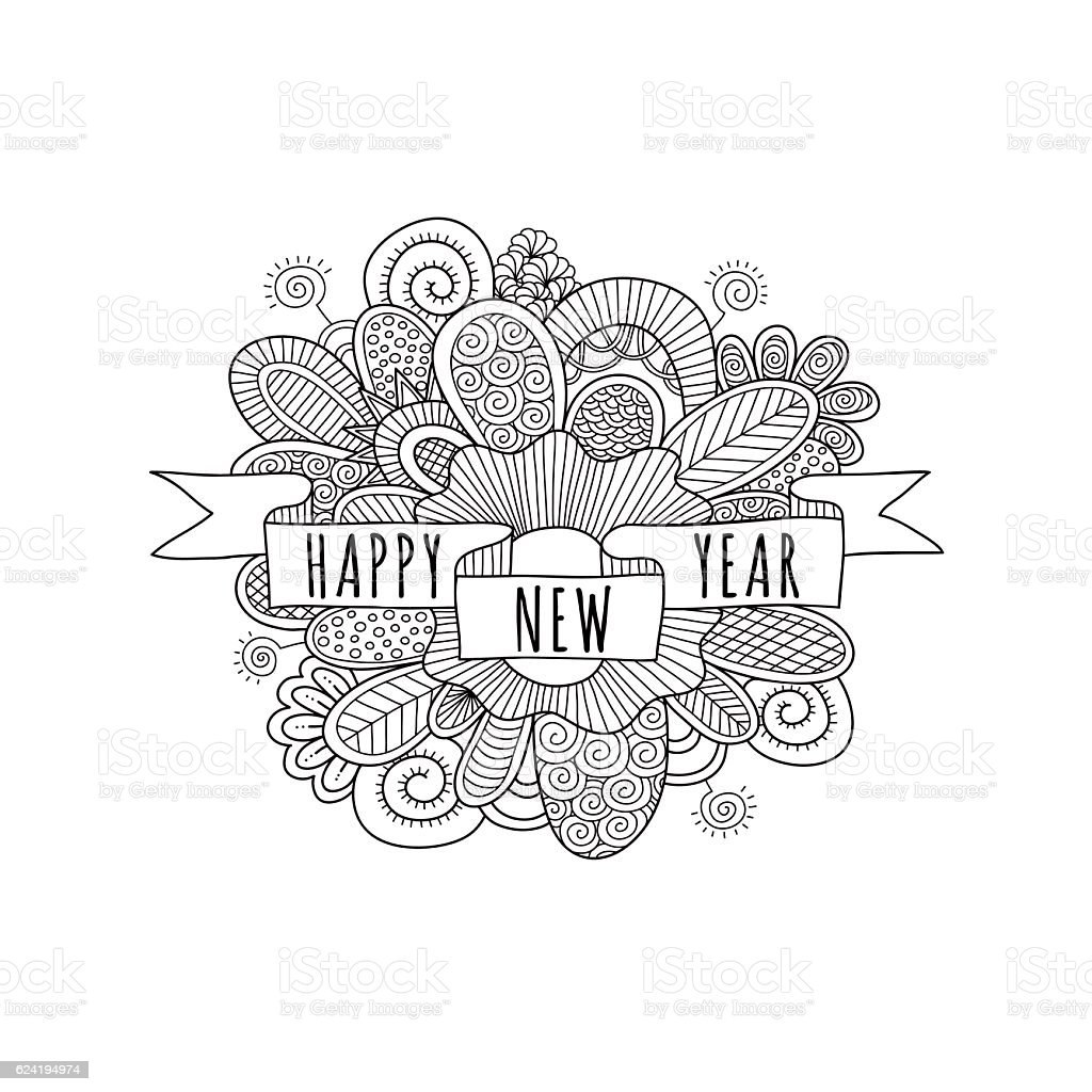 happy new year banner with doodles vector illustration royalty free happy new year banner with