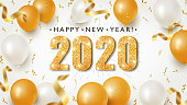 Happy New Year Banner with Gold 2020 Numbers on Bright Background with Flying Confetti and Air Balloons. Vector illustration
