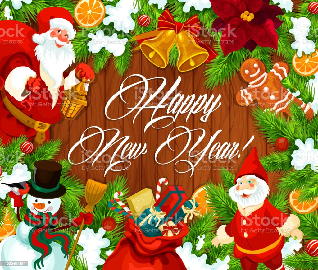 happy new year banner with wreath on wood royalty free happy new year banner with