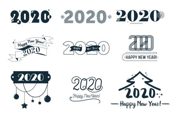 illustrations, cliparts, dessins animés et icônes de 2020 happy new year banners set with abstract elements, fir tree and black typography isolated on white background, winter holidays greeting tags, poster, ad design, cartoon flat vector illustration - pinacée