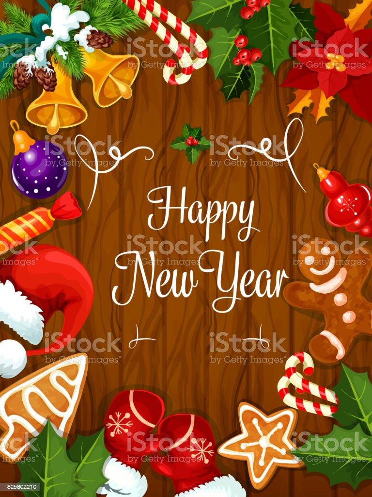 Glückliches Neues Jahr Beste Wünsche Poster Stock Vektor Art und ...