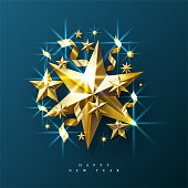 New Year Background made of Golden Stars And Sparkles. Vector Illustration.
