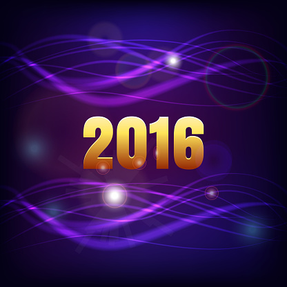 2016 Happy New Year blue and purple background with spot abstract lights effect