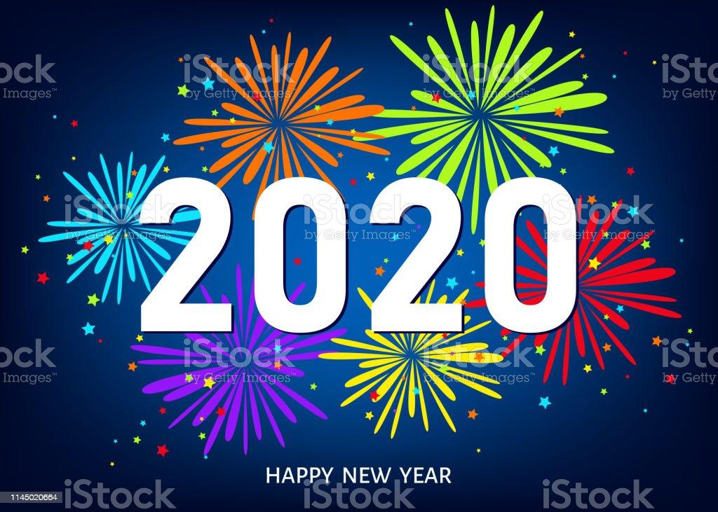 Calendrier Feu D Artifice 2020.2020 Happy New Year Fond Bleu Avec Feu Dartifice Multicolore