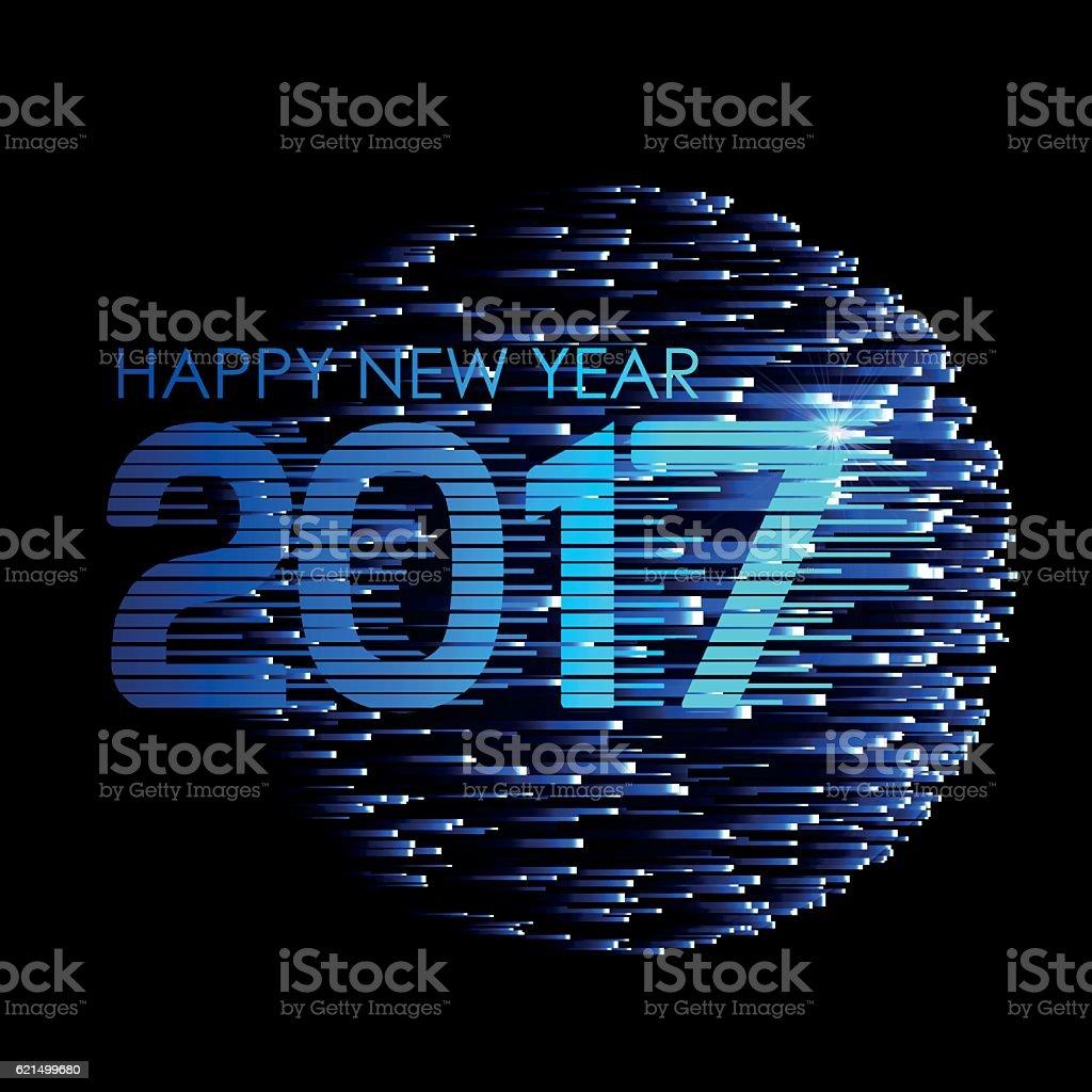 Happy New Year. Blue glowing stripes on a dark background. Lizenzfreies happy new year blue glowing stripes on a dark background stock vektor art und mehr bilder von 2017