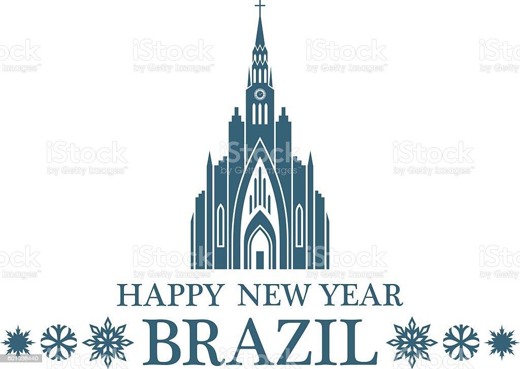 Happy New Year Brazil vector art illustration