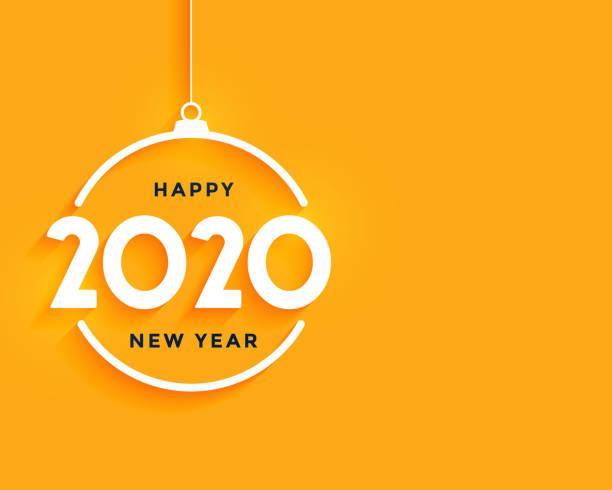 glückliches neues Jahr hellgelb minimal Hintergrunddesign – Vektorgrafik