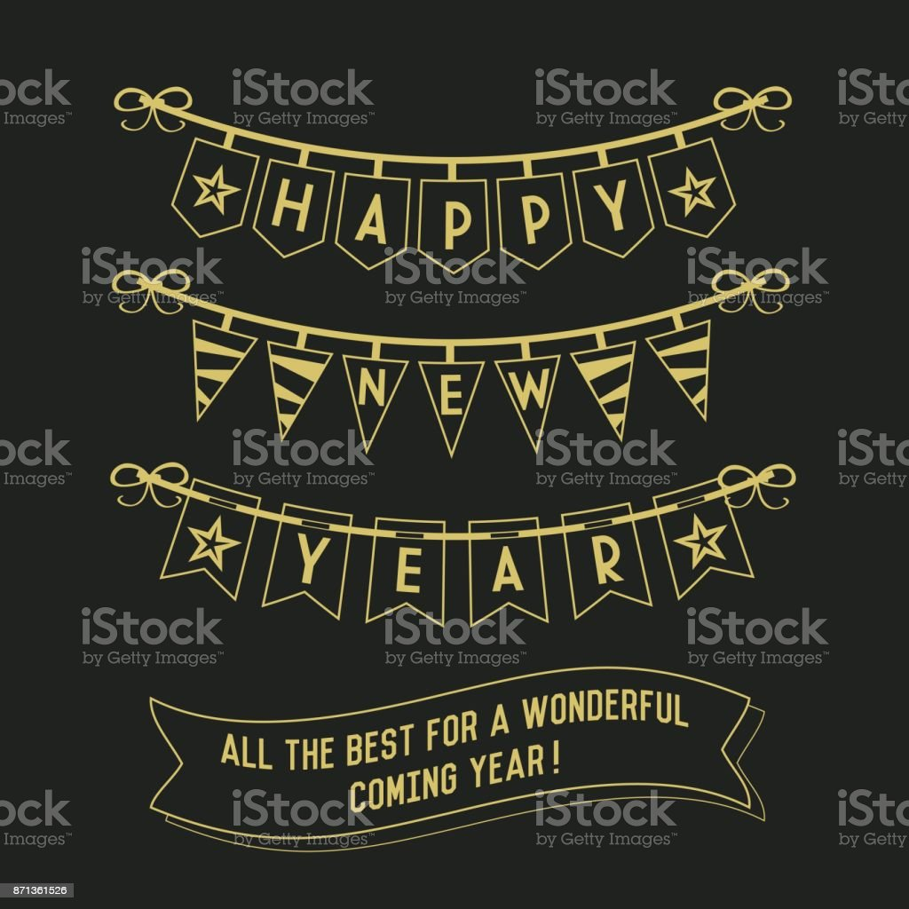 Happy New Year buntings and decorations on black background vector art illustration