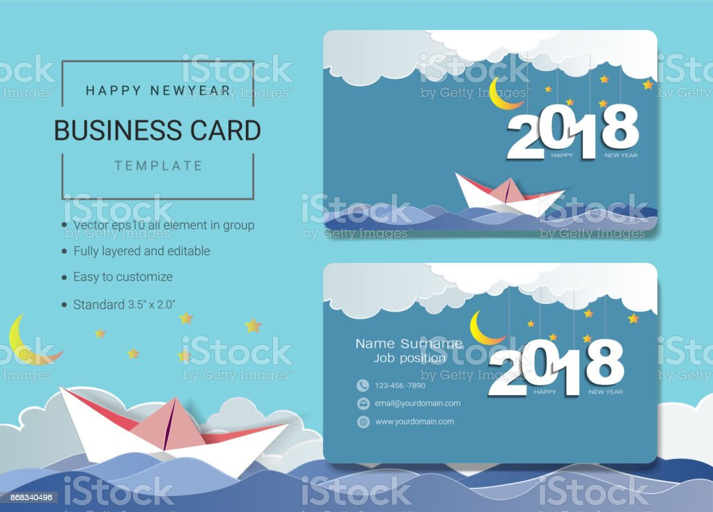 2018 happy new year business card or name card template simple style also modern and