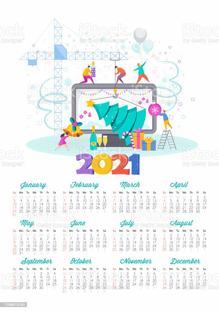 2021 Happy New Year Calendar Greeting Card For Christmas ...