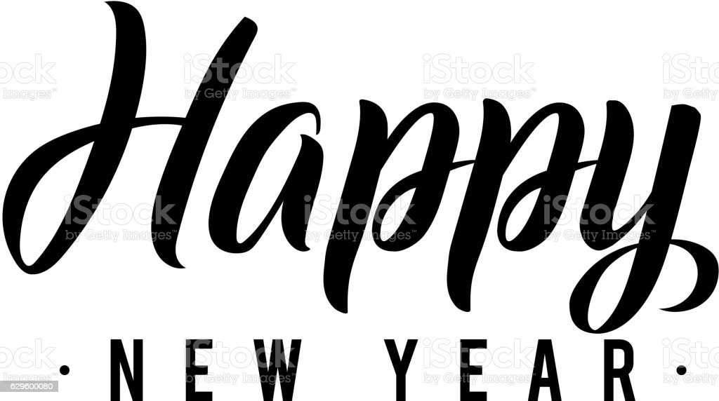 Happy new year calligraphy greeting card black typography on white greeting card black typography on white royalty free happy new m4hsunfo