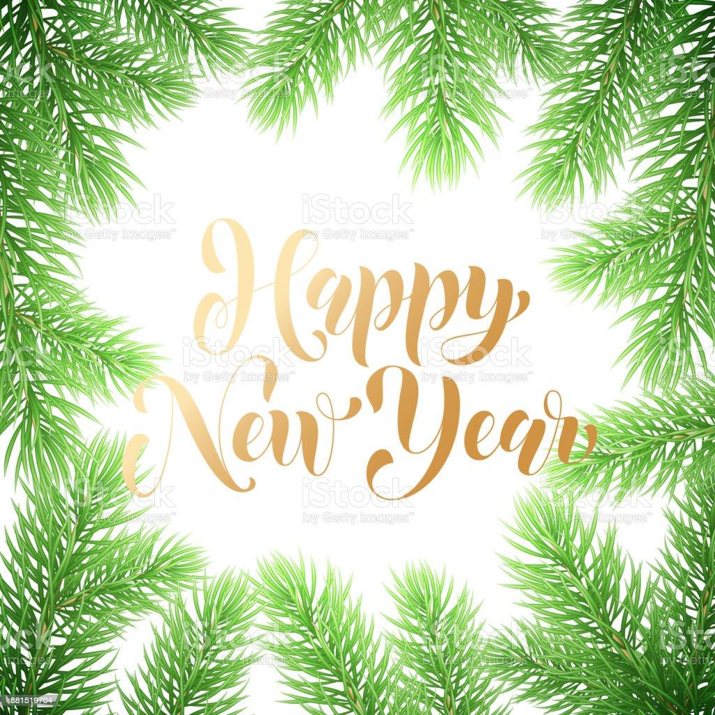 Feliz Año Nuevo Caligrafía A Mano Elaborado Texto Y Acebo Ornamento ...