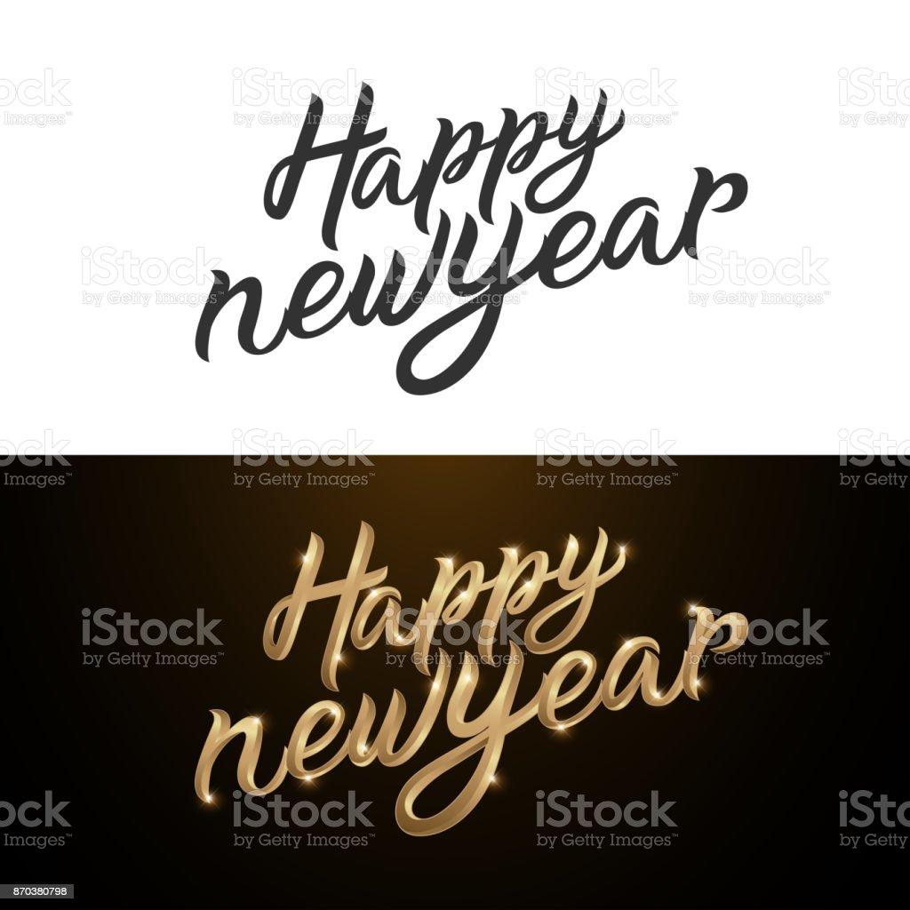 Ilustración De Letras De Caligrafía De Feliz Año Nuevo Frase