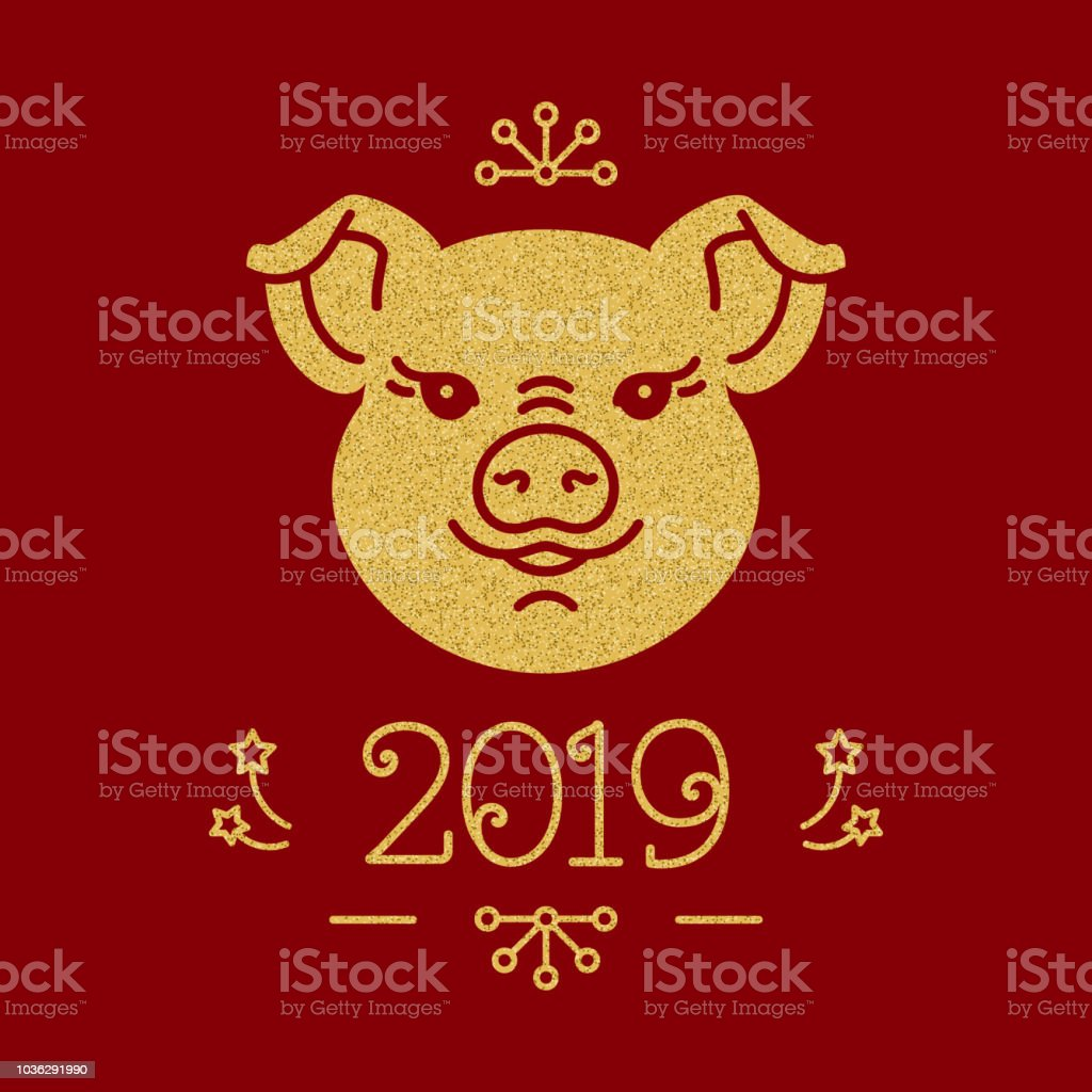 happy new year card 2019 year of the pig christmas greeting card cute
