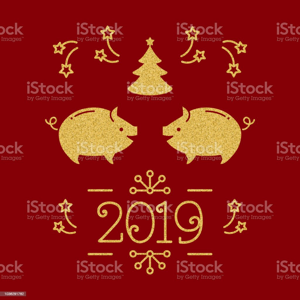 happy new year card 2019 year of the pig christmas greeting card golden