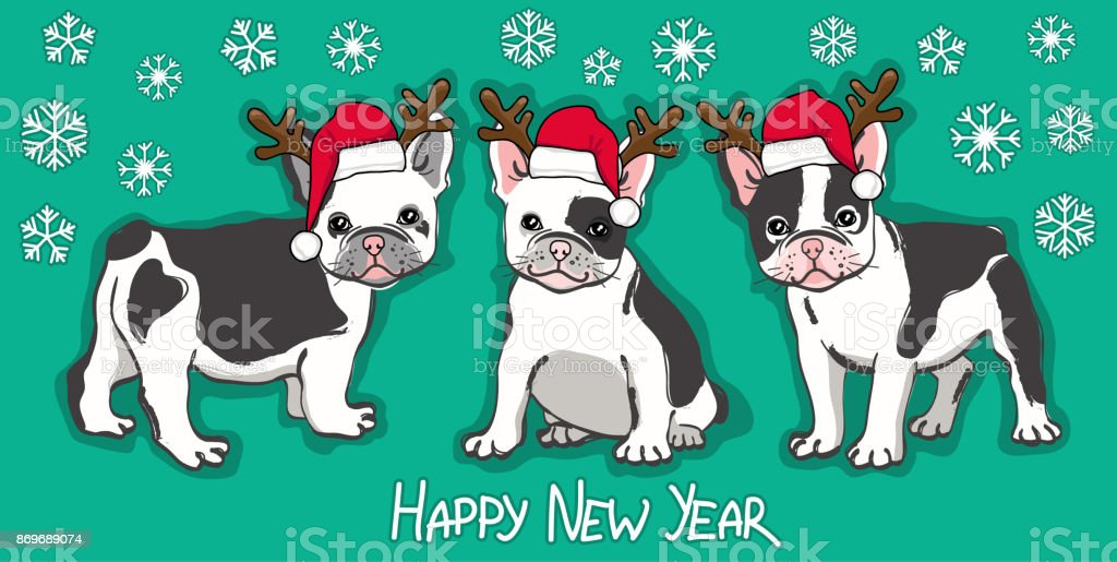 happy new year card abstract card with cute french bulldog in santa hat and wishing