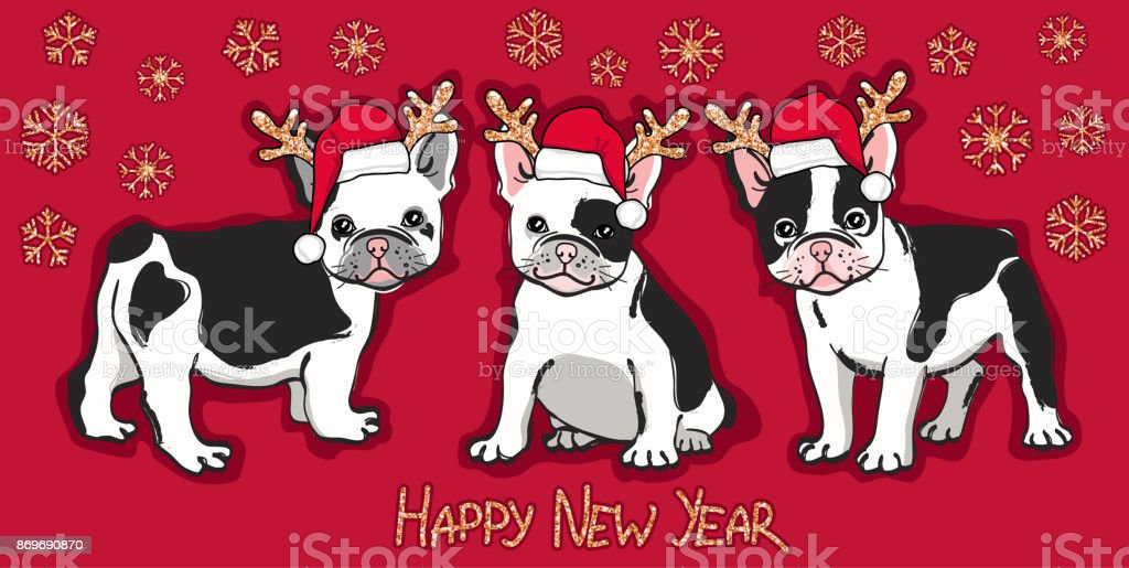 happy new year card abstract card with cute french bulldog in santa hat gold