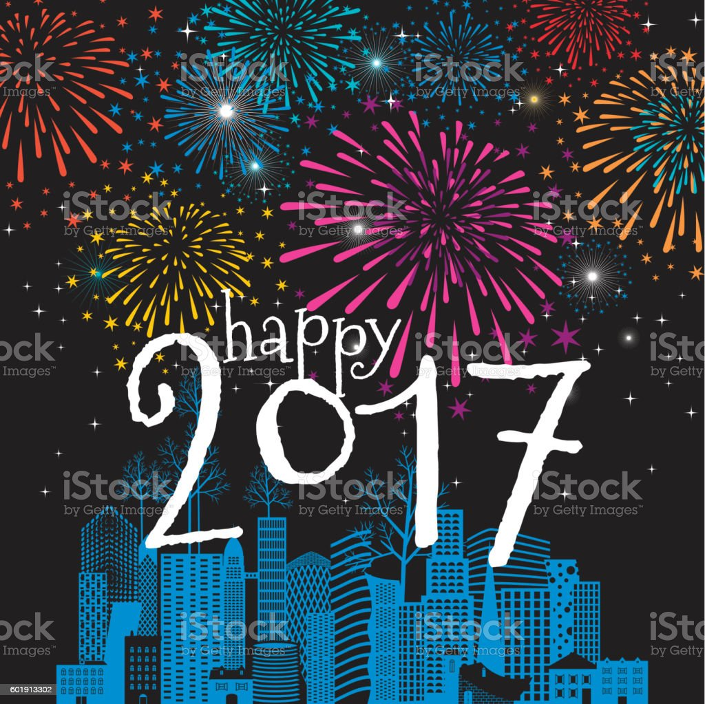 Happy new year card christmas cityscape 2017 fireworks vector art illustration