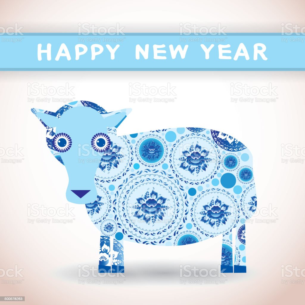 2015 happy new year card cute blue sheep greeting card royalty free stock